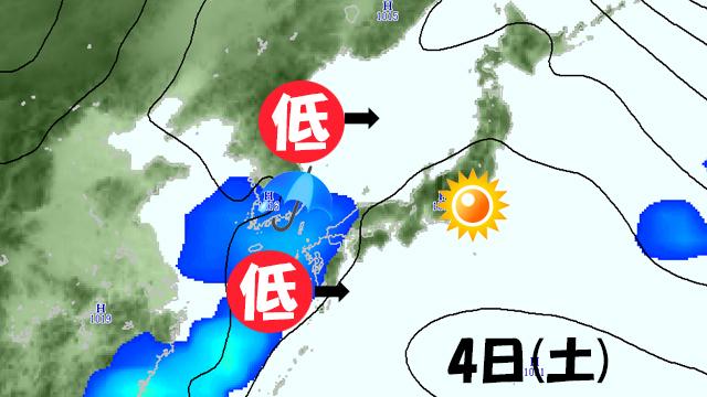 今週末に西からやってくる低気圧。このあと弱まると、晴れる時間が長くなって、週末はまた暖かくなる。