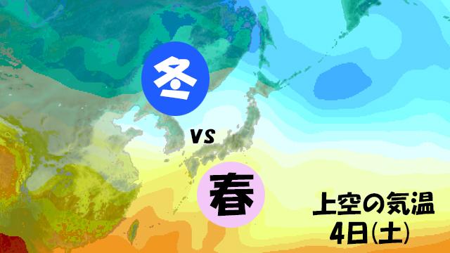 冬の空気と春の空気がいがみあう日本列島。週末は春の空気がじわじわ北上。でも、2月のどこかで来る冬の逆襲が怖い。