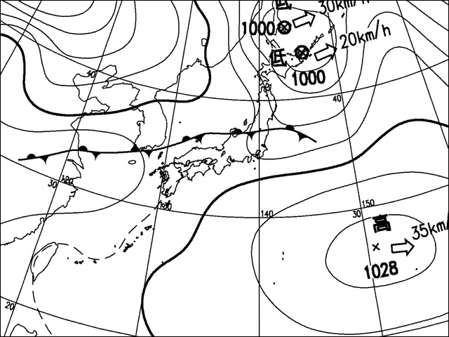 2010年2月9日昼。気象庁天気図。