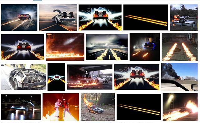 デロリアンといえば、画像検索でもやはり火だ。