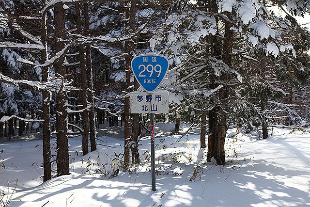 すっかり雪に埋まっているが、ちゃんと国道299号線。