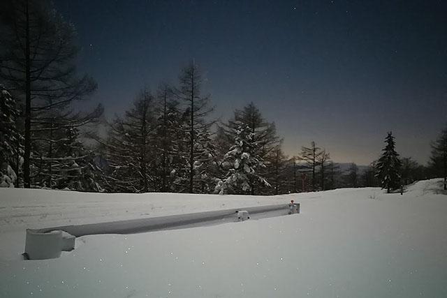 月明かりで写真を撮ってみた(寒い)。