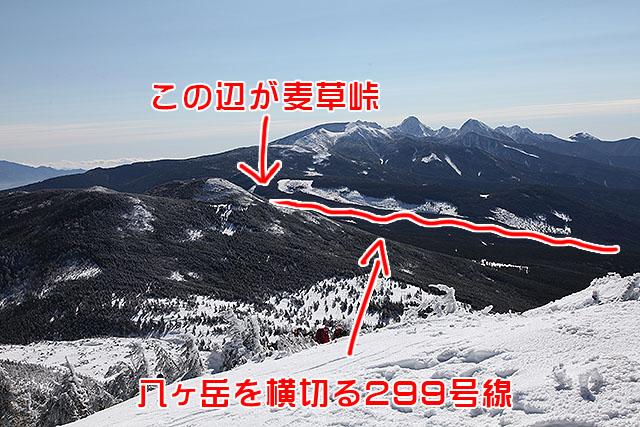 北も南も山岳地帯。その真ん中を走るのだから、そりゃ雪山ですわな。奥の山が赤岳とか阿弥陀岳などの南八ヶ岳。