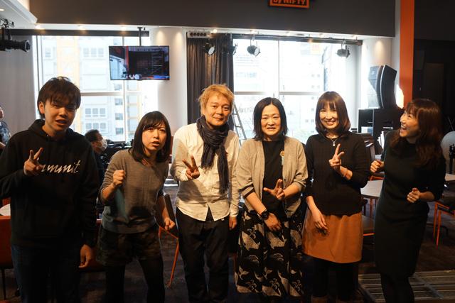 右から、BIGLOBE中さん、同黒川さん、ライター乙幡、NIFTY林さん、同古賀さん、カルカル青山さん。