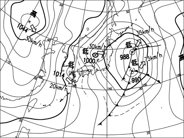 2010年1月13日明け方。気象庁天気図。