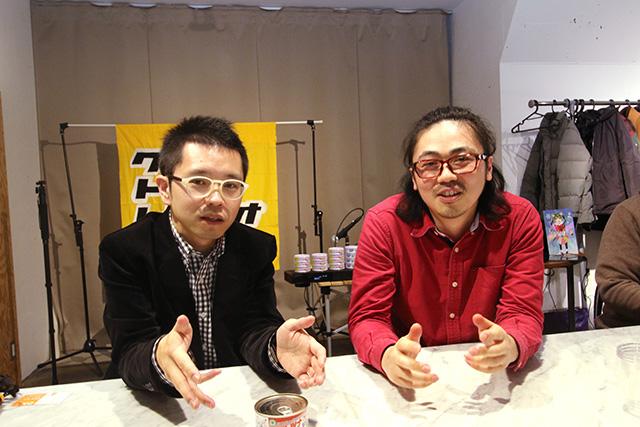 クロストークレディオ!! 主宰のお二人。写真左が「せとっち」さん、右が「ゆう」さん。ツナ缶の話をろくろ回しながらされたのは初めての体験だ。