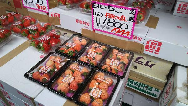 白いイチゴを見つけたとき、「白いイチゴか。へぇ、赤いイチゴの2倍の値段するのか。え、2倍!?」と段々と気持ちがびっくりしていった。