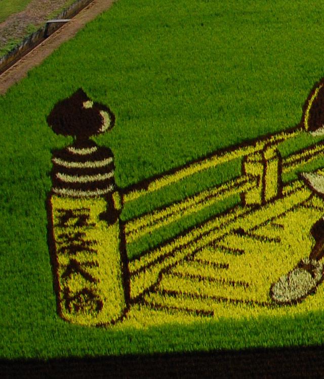 稲で文字を表現。米粒写経の真逆だ