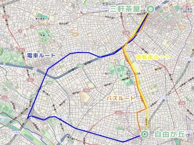 バスと自転車のルートはほぼ同じ、電車だけがかなり違って大回り。