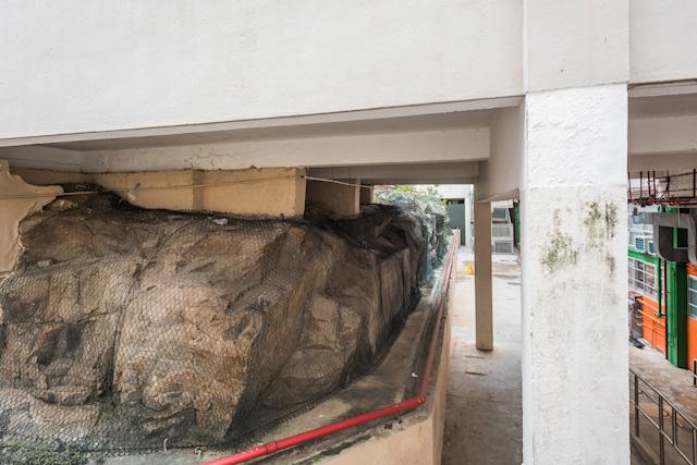 建物の足元を見ると「岩盤」と呼びたくなる荒々しい岩が顔をのぞかせる。