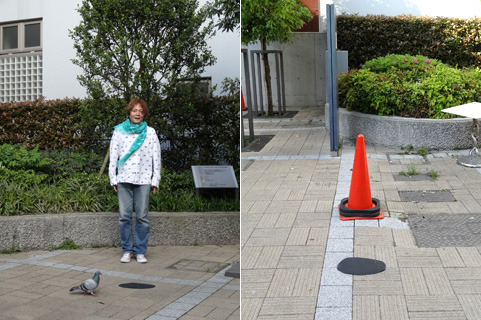 A pigeon getting in the way, then a floating cone (That's the intention)