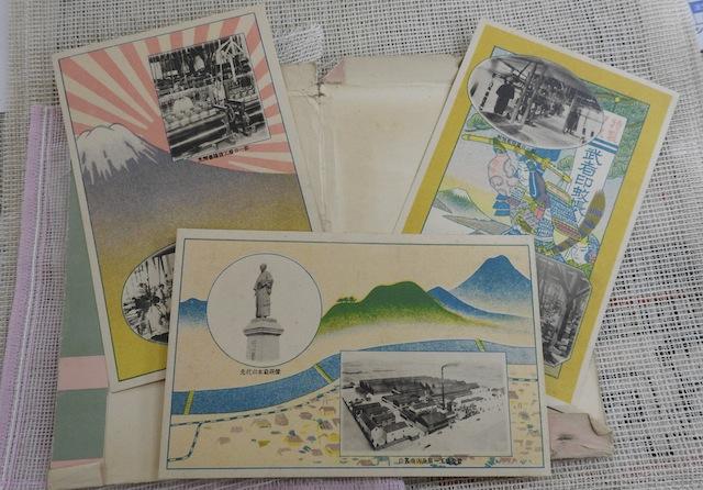 武者印というブランドの蚊帳。写真から当時の蚊帳製造の様子が見て取れる貴重な資料となっている。