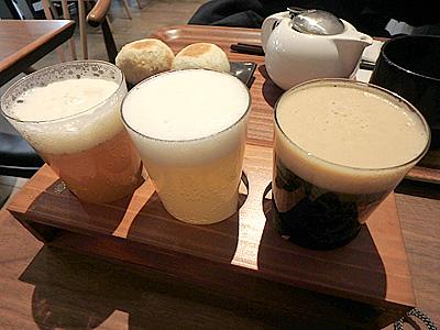 ビールのつまみは長野のおやき。