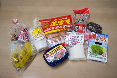 いちゃガリガリ、ジーマミー豆腐、ポチギ、塩せんべい、ふちゃぎ、タンナーファクルー、ポーク、かまぼこ、海ぶどうの9品を用意しました。