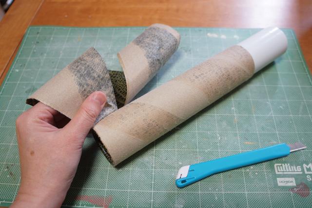 筒から貴重な皮を取らせていただく。たぶんマーブルチョコ3個分くらいの皮が取れる。