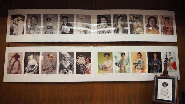 長年CMキャラクターをしている山本陽子さんの歴代写真も並んでいた。しかも最長CMキャラクターということでギネス取ったらしい。