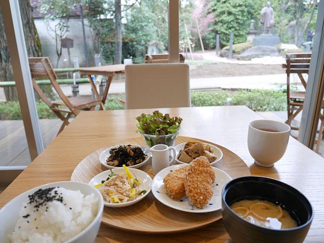 お寺の境内を眺めながら頂ける、健康的な食事に感動