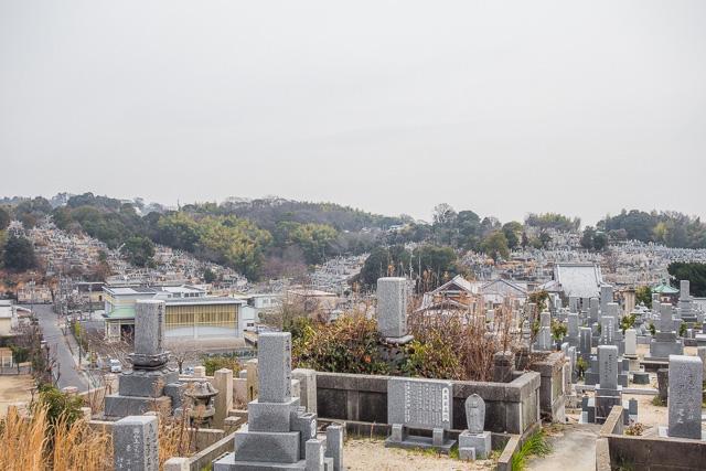 で、裏に回ってみてびっくり! 一面、すべての斜面がびっしり墓石で覆われてる!
