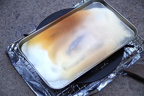 一番下段の塩はスモークウッドの熱でこんがりキツネ色に。