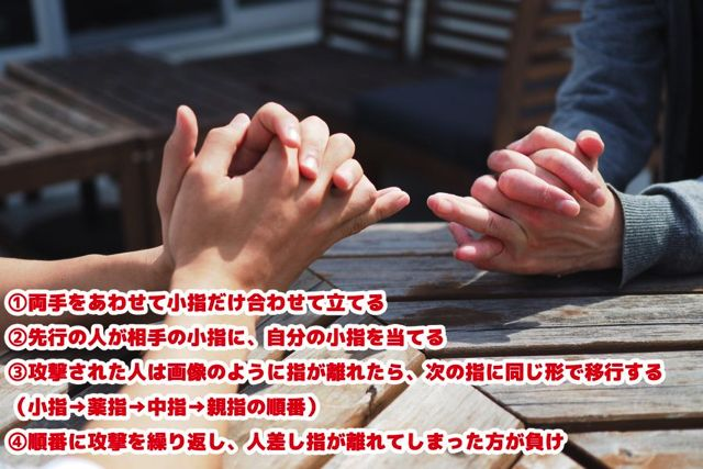指遊びその3。指と指をぶつけあうガチンコ勝負。今思うとけっこう危険な遊び。