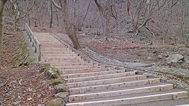 緩やかな傾斜の階段です。第1コーナー曲がったところです。