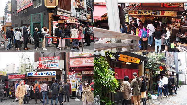 たこ焼き屋さんはやっぱり人気。右下は「法善寺横丁」という小道でここも行列密集地。