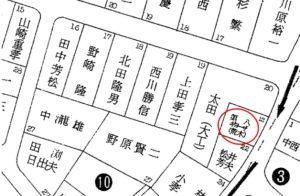 昭和50年の地図では、右の荒木店主の第7が第八に変わっている
