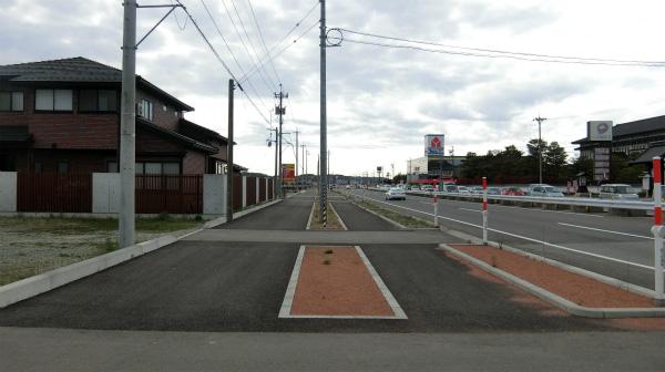 これが8号線の歩道。歩いている人が自分以外いない。