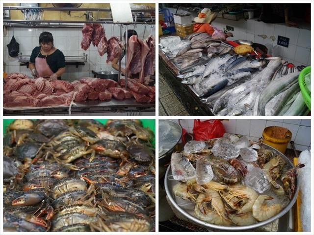 魚、カニ、エビ、肉、ありとあらゆるものが売られており、混ざりあった生臭い匂いが胸にズシ~ンと来る。