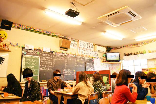 」中に入ると休日を学校で楽しむ若者がいっぱいいた