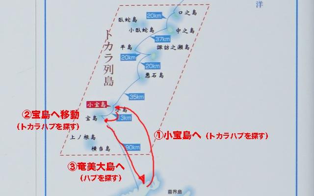 奄美大島の名瀬港から小宝島へ渡り、臨時便を利用して宝島へ移動、そして奄美に帰着というプラン。
