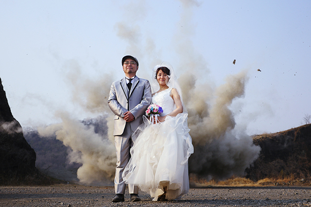 The wedding photo you can visibly see that debris are flying.