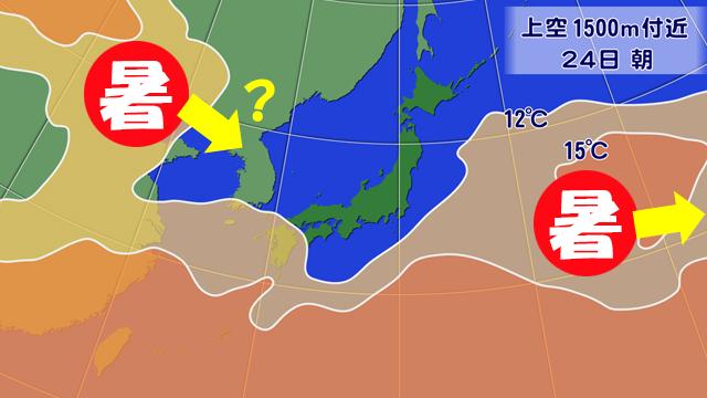 週末から暑さをもたらした空気は、24日(水)には東へ遠ざかるが、西から次の暑い空気が?