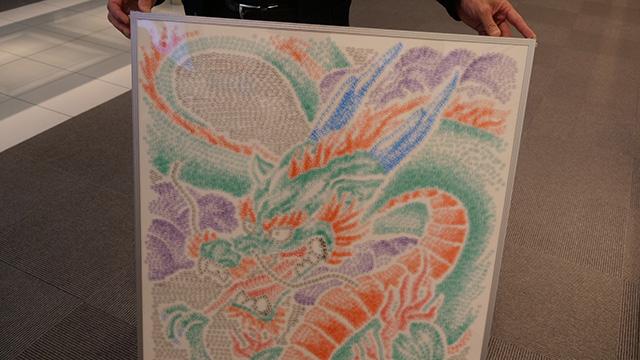 シヤチハタのショールームで見せてもらった龍の絵