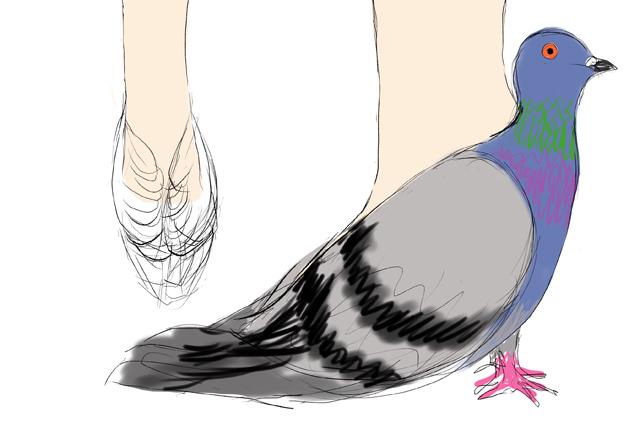右、わかりにくいがヒール部分がハトの足と同化しているので、つま先がハトの尾羽になる。つまり前後逆にハトがくっつくことになる。