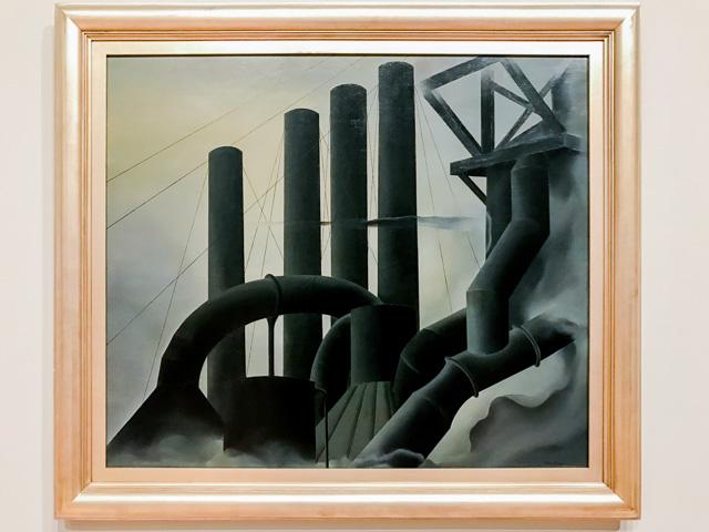 あとこれもまた脱線だけど、そのホイットニー美術館には Elsie Driggs が1927年に描いたちょうすてきな工場の絵があって、ふるえた。工場萌えの大先輩である。ぼくに怪盗の才能があったらこれを狙う。