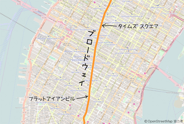 京都の後院通のように、碁盤の目の中でブロードウェイだけへんなふうに斜めに走っている。島の真ん中を通っている。尾根道っぽい。