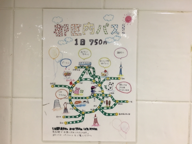 JR高田馬場駅。手書きで描かれた「都区内パス」のポスター。「休日おでかけパス」もあった。東京タワーなどのランドマークがかわいい。