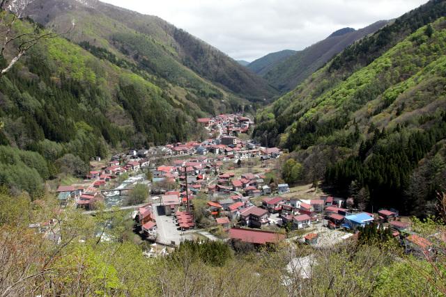山間に赤い屋根が連なる檜枝岐村。この見える範囲に村のほぼ全てが集結している
