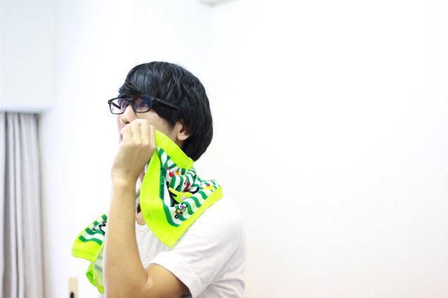細くて眼鏡をかけた弱そうな僕がかわいいタオルを持っていても、たいしたギャップは生まれない。