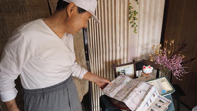 気の優しげなお父さんにおススメの場所を聞く。名古屋の歴史に詳しくて頼もしい。