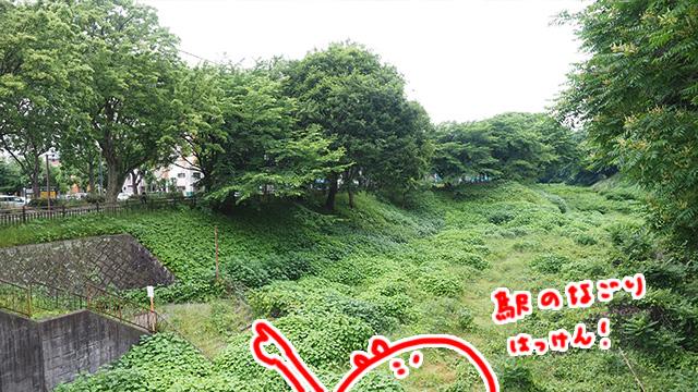左端のコンクリは昔はしってた瀬戸電の駅へ続く階段らしい