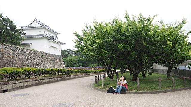 名古屋城ながめながら一休み。