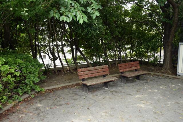 このベンチの向こう側が……