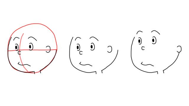 ふつう左右の耳を結ぶ線上に目が来るのだが、サザエさんの登場人物(こども)は鼻が来る。大人はさらに鼻から上が、さらに上に上がってしまう。