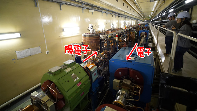 ふたつのパイプの中をそれぞれ電子と陽電子が通る。光速に近い速度で通る