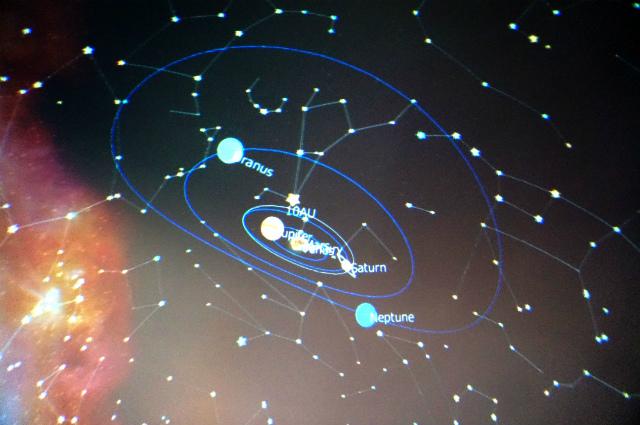 前日に取材に来た人が作ったという番組を上映中だった。太陽系かな