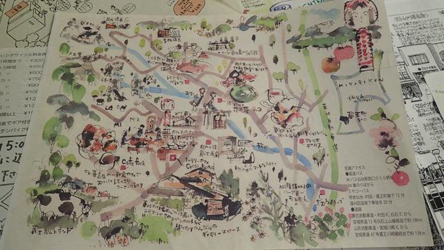 ひとつの絵画として成り立っている手書き地図。