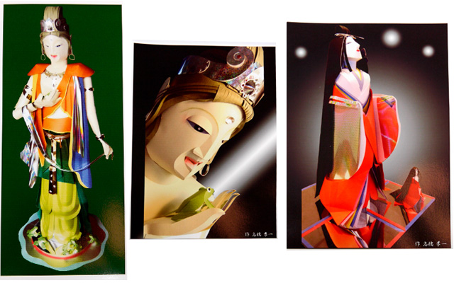 左から「観音様」(150cm)、「観音様」のアップ写真、「かぐや姫」(120cm)