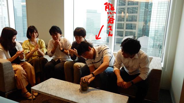 熊谷さん。何と水球の世代別日本代表候補だったということだが、かたいビンには関係ないみたいである。開かない。